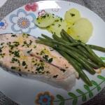 salmone marinato con fagiolini e patate