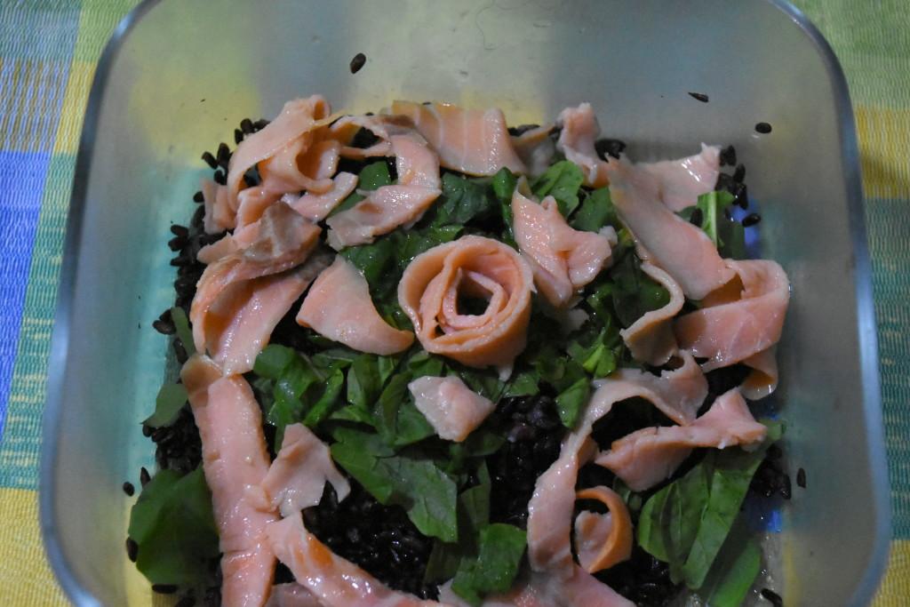 riso venere con salmone