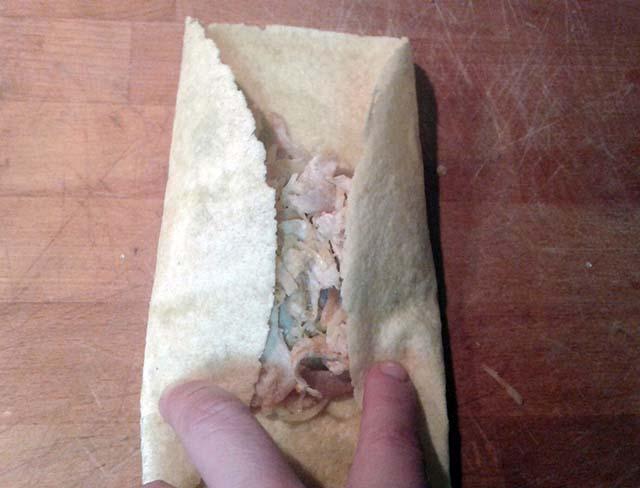 ripiegare tortilla